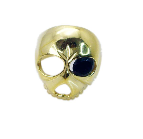 Buy Riyo Gemstone 18kt Gold Plated Skull Ring Gprskull60-280007 online