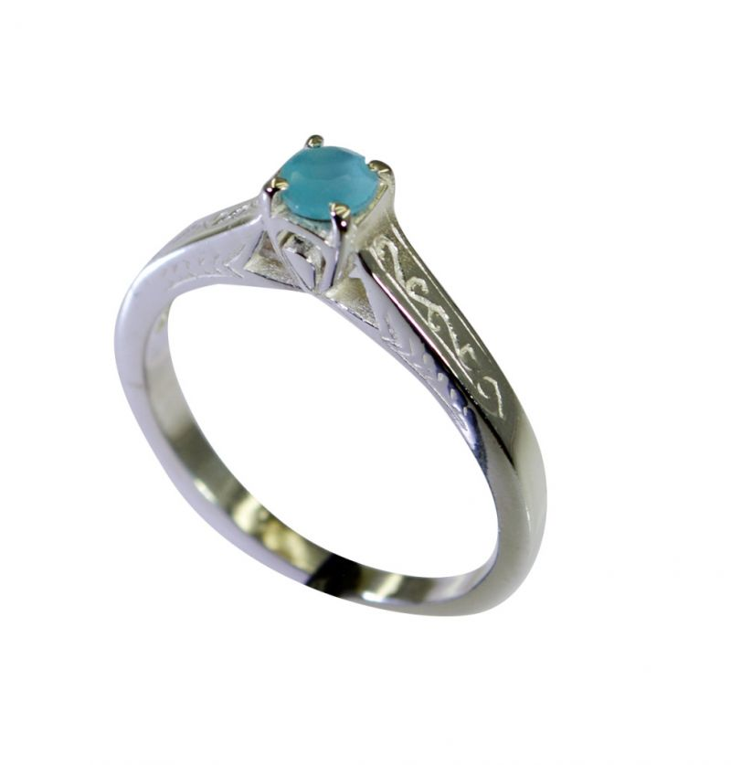 Buy Riyo Aqua Chalcedony Silver Jewelry Wholesale India Guard Ring Sz 7 Srach7-4017 online