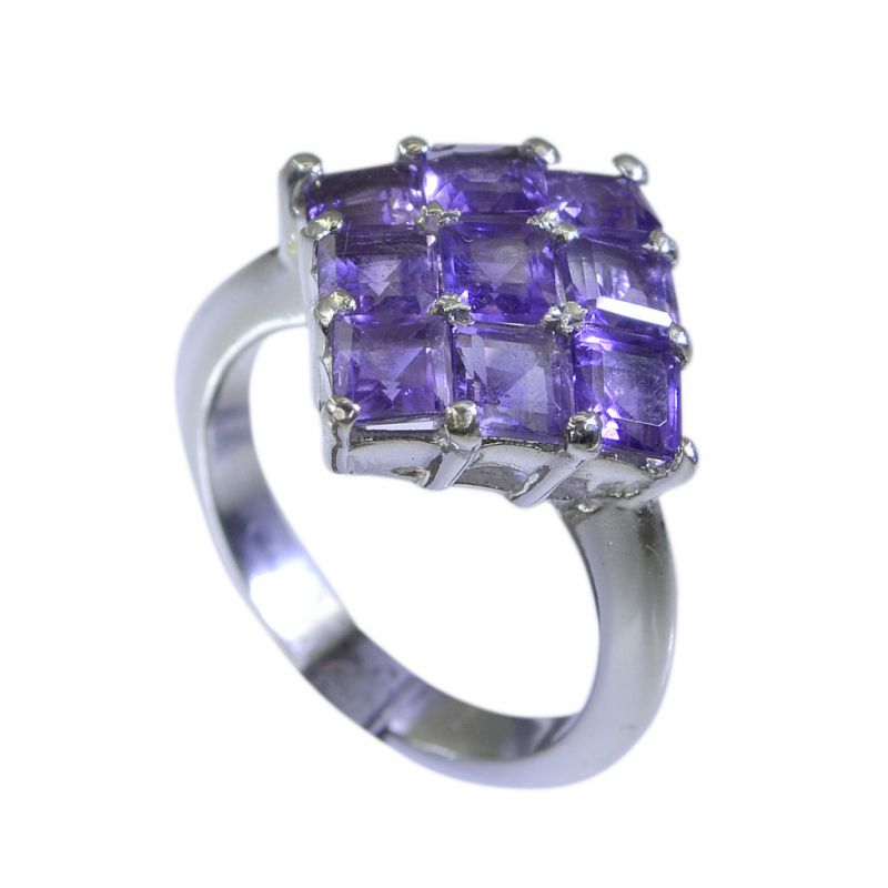 Buy Riyo Amethyst Silver Jewelry With Stones Designer Silver Ring Sz 6 Srame6-2012 online