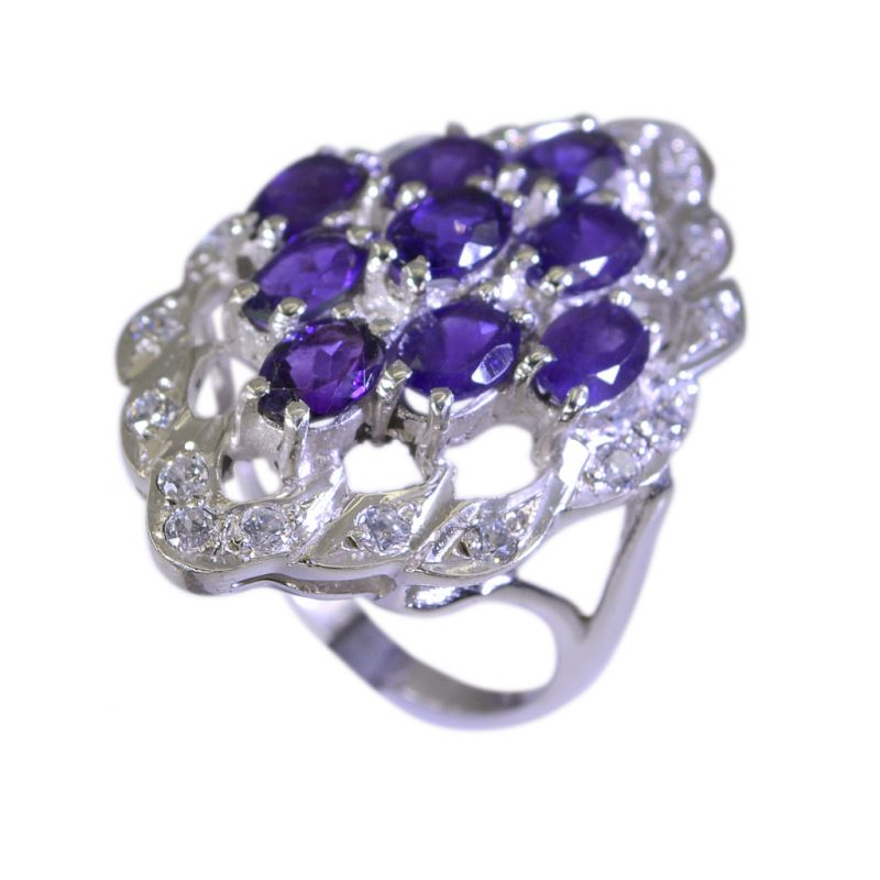 Buy Riyo Amethyst Silver Religious Jewelry Silver Band Ring Sz 6.5 Srame6.5-2027 online