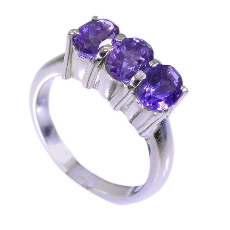 Buy Riyo Amethyst Silver Stamped Jewellery Silver Engagement Ring Sz 6.5 Srame6.5-2030 online