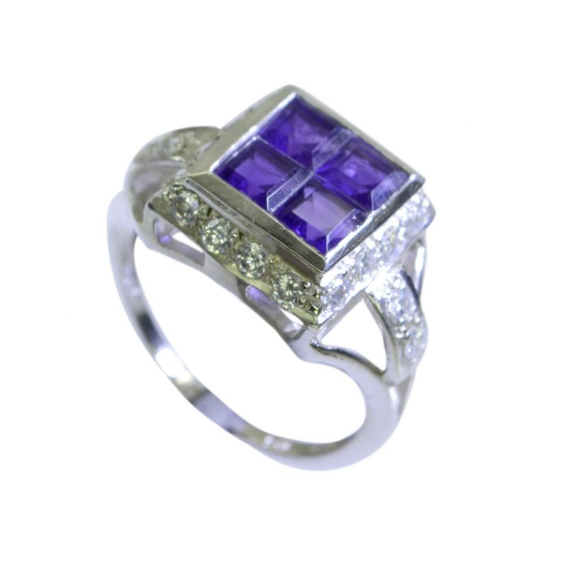 Buy Riyo Amethyst Simple Silver Jewellery Silver Ring Band Sz 7 Srame7-2045 online