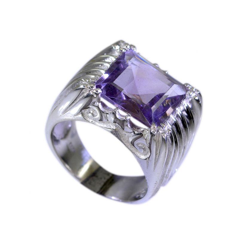 Buy Riyo Amethyst Southwest Silver Jewelry Silver Ring Designs For Women Sz 7 Srame7-2050 online