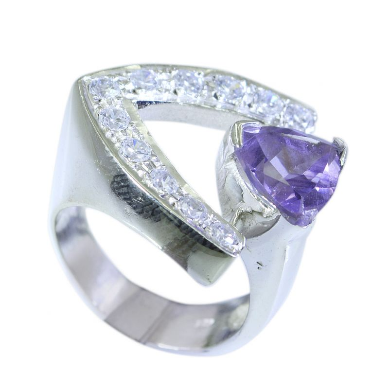 Buy Riyo Amethyst Stamped Silver Jewellery Silver Ring For Women Sz 7 Srame7-2052 online