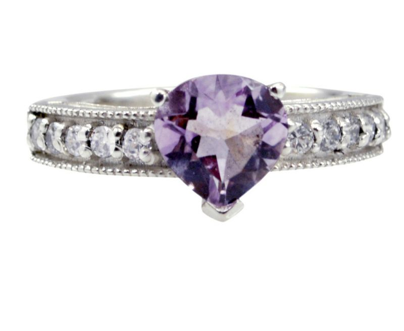 Buy Riyo Purple Amethyst 925 Solid Sterling Silver Exciting Ring Srame70-2176 online