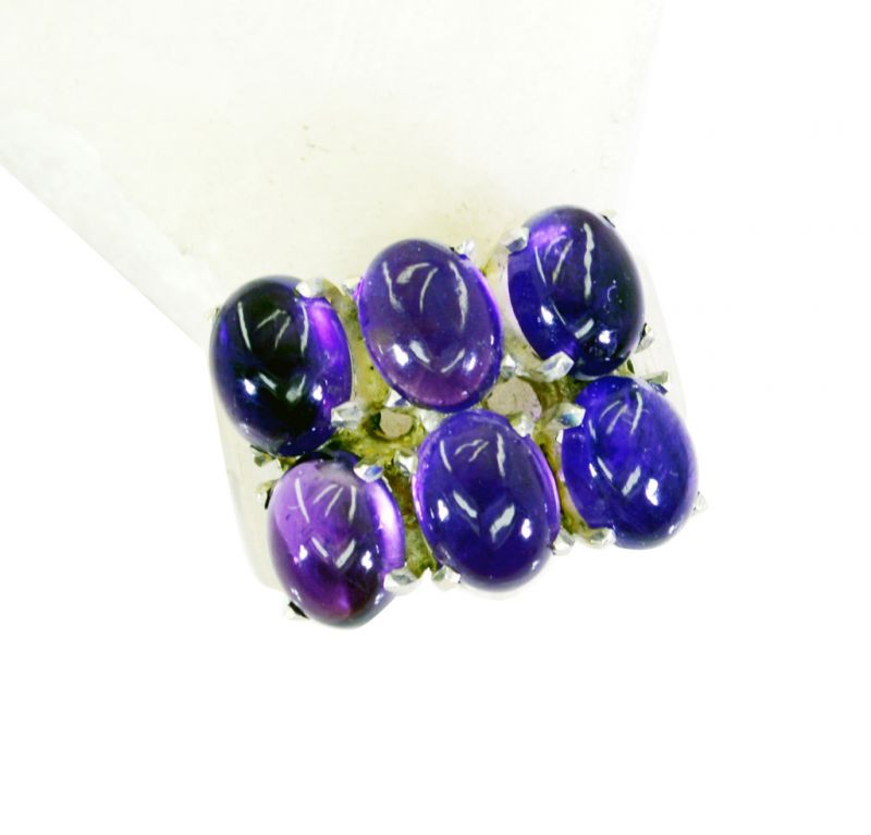 Buy Riyo Amethyst Art Deco Silver Jewellery Birthstones Ring Jewelry Sz 8 Srame8-2122 online