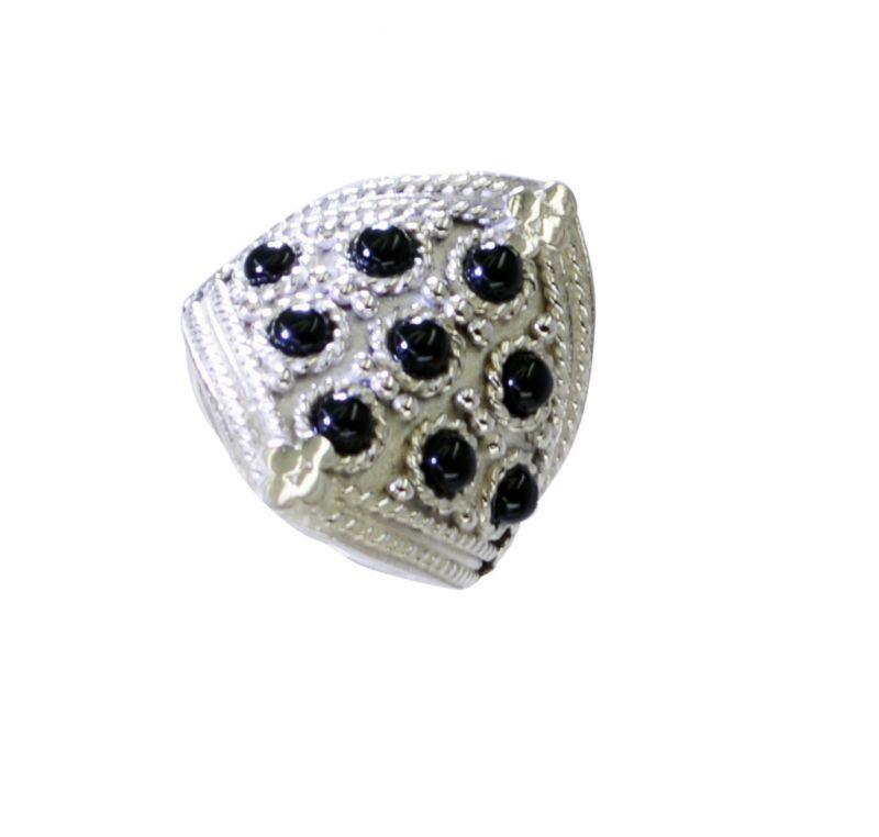 Buy Riyo Black Onyx German Silver Jewellery Silver Ring Settings Sz 6.5 Srbon6.5-6032 online