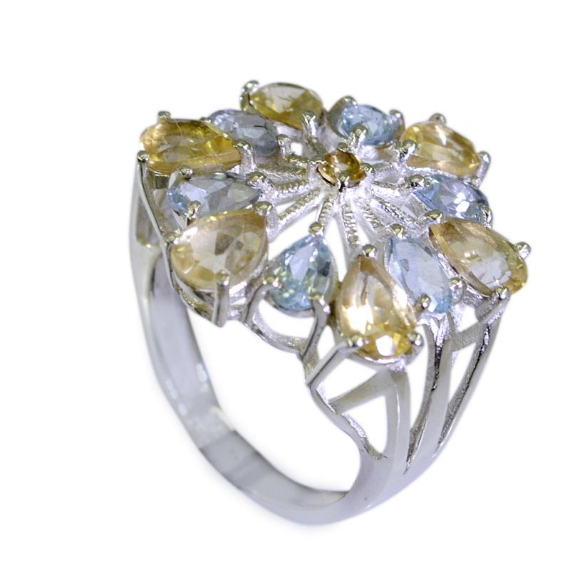 Buy Riyo Blue Topaz Handmade Jewelry Silver Thick Silver Ring Sz 6 Srbto6-10015 online