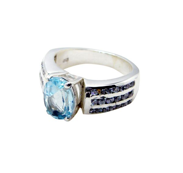 Buy Riyo Blue Topaz Jewelry Silver Friendship Ring Sz 6 Srbto6-10040 online
