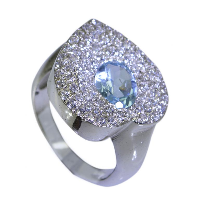 Buy Riyo Blue Topaz Indian Silver Wholesale India Sz 7 Srbto7-10032 online