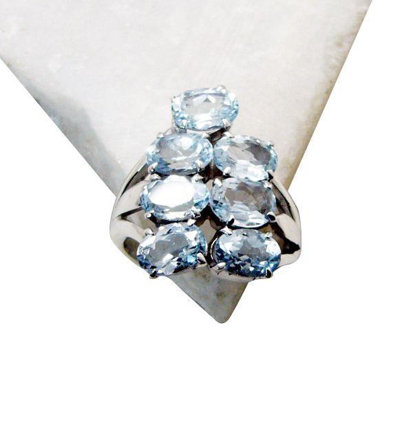 Buy Riyo Blue Topaz Luxury Silver Jewellery Wedding Bands Sz 7 Srbto7-10047 online