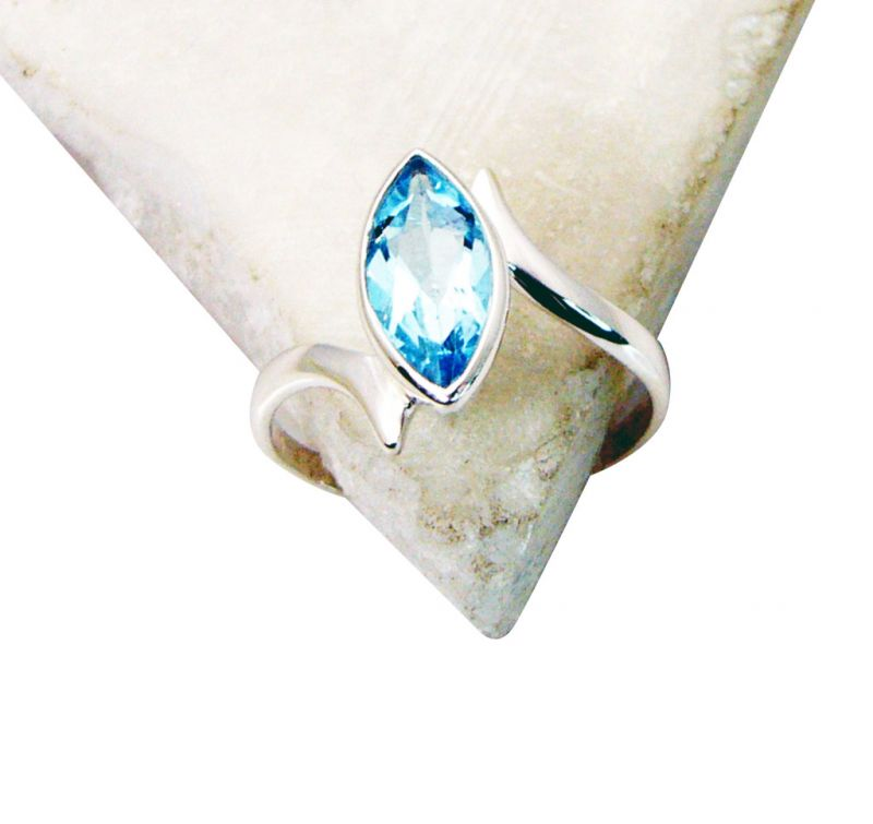 Buy Riyo Blue Topaz Plain Silver Jewellery Classic Day Rings online