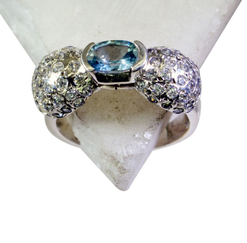 Buy Riyo Blue Topaz Recycled Silver Jewelry Regards Ring Sz 8 Srbto8-10081 online