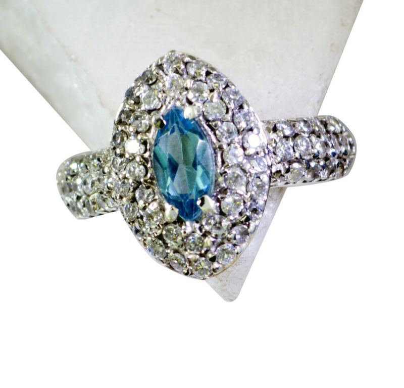 Buy Riyo Blue Topaz Silver Gemstone Jewelry Thumb Ring Sz 8 Srbto8-10086 online