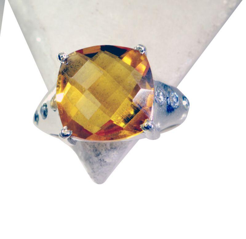 Buy Riyo Citrine Silver Indian Jewelry Silver Love Ring Sz 6 Srcit6-14029 online