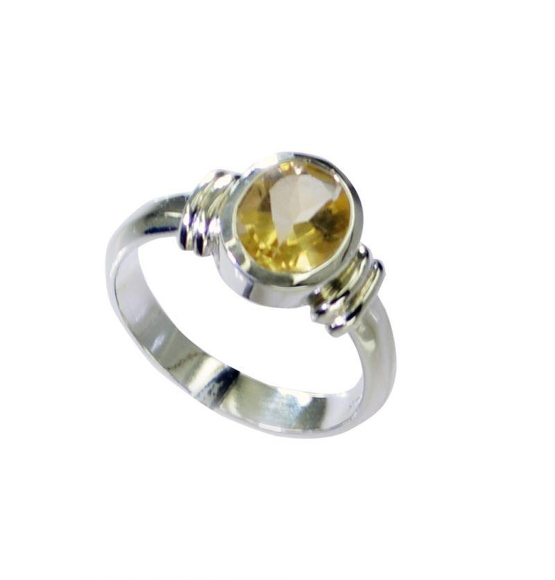 Buy Riyo Citrine Silver Jewellery Shop Twisted Silver Ring Sz 7.5 Srcit7.5-14066 online