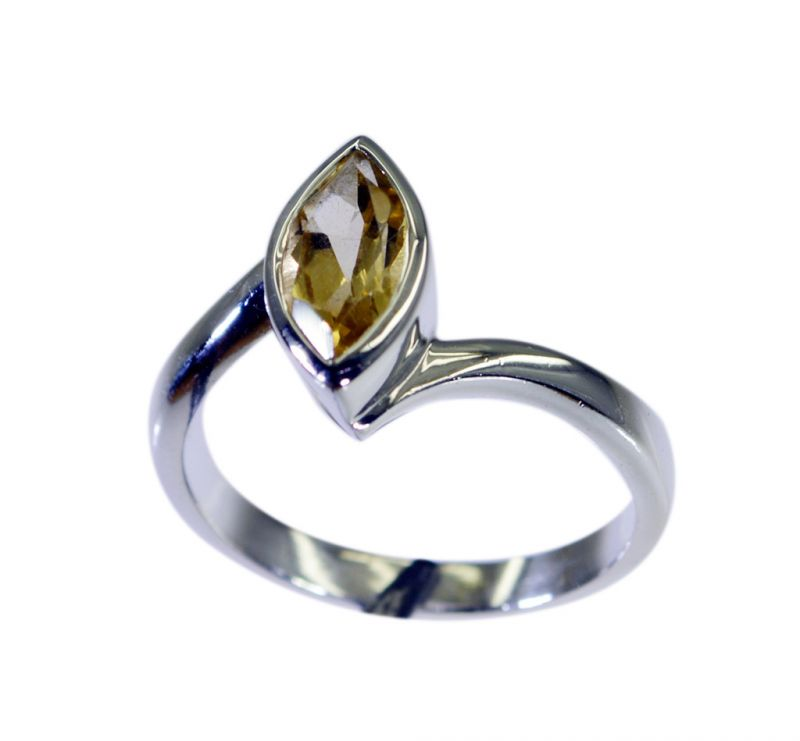 Buy Riyo Golden Citrine 925 Solid Sterling Silver Faceted Ring Srcit80-14095 online