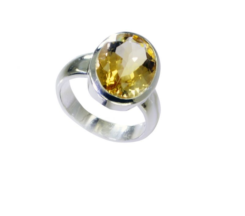 Buy Riyo Citrine Silver Jewellery Suppliers Wide Silver Ring Sz 9.5 Srcit9.5-14071 online