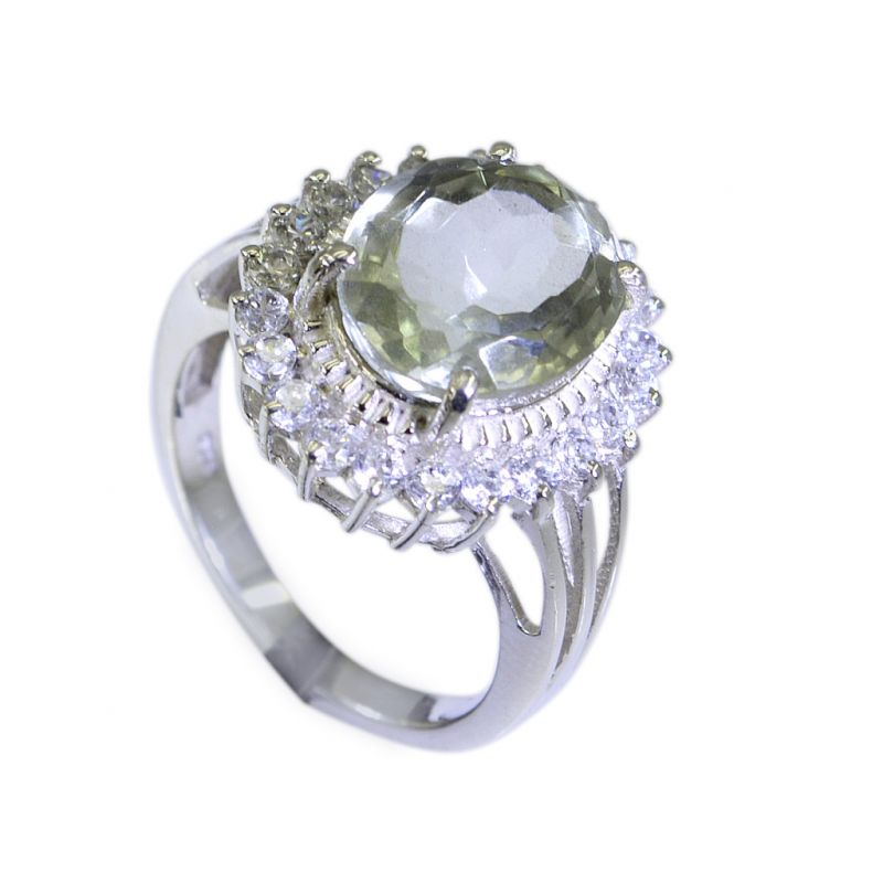 Buy Riyo Green Amethyst Silver Jewelry Findings Engraving Ring Sz 7 Srgam7-28031 online