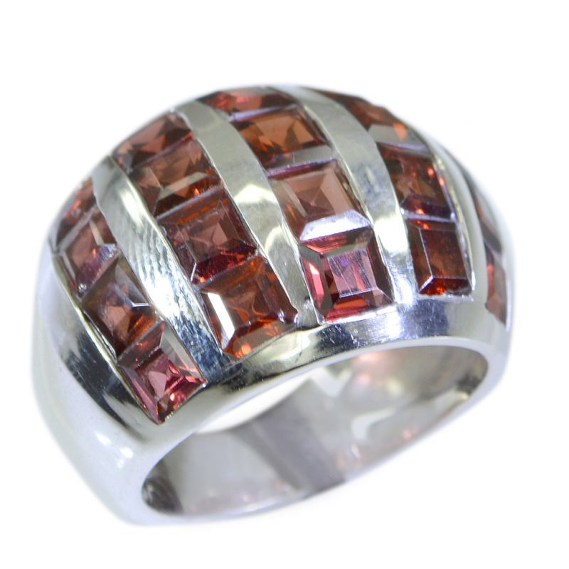Buy Riyo Garnet Simple Silver Jewellery Silver Ring Band Sz 6 Srgar6-26030 online