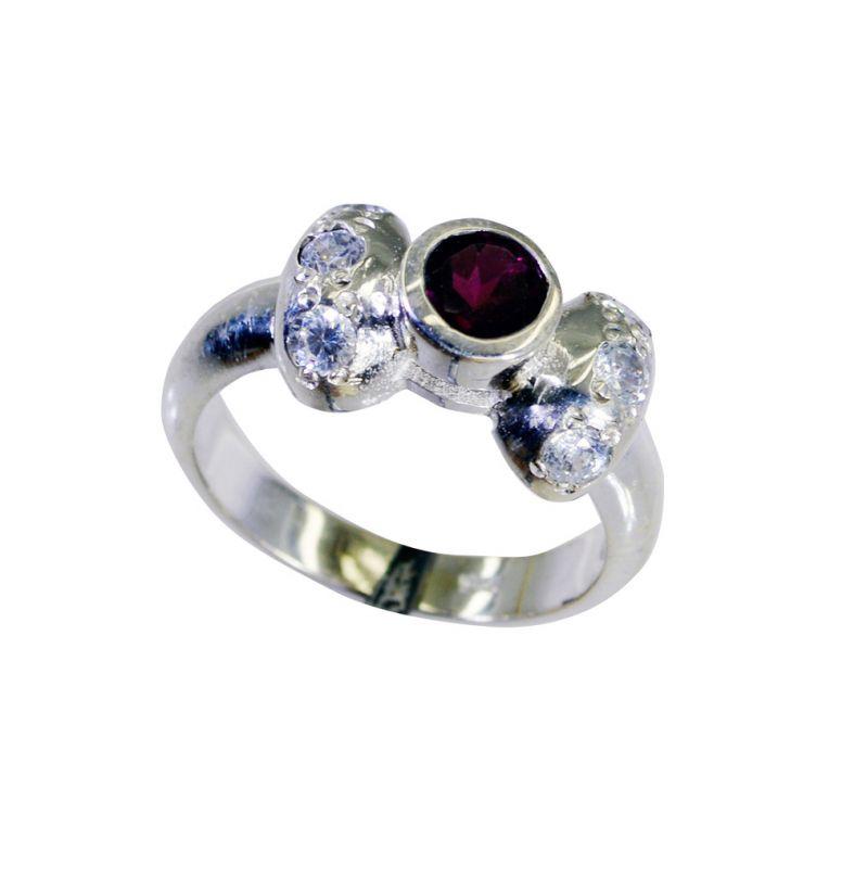 Buy Riyo Red Garnet 925 Solid Sterling Silver Savvy Ring Srgar60-26262 online