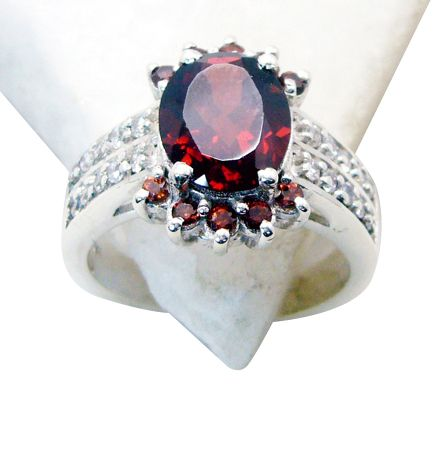 Buy Riyo Garnet Artisan Silver Jewelry Guard Ring Jewellery Sz 6.5 Srgar6.5-26108 online