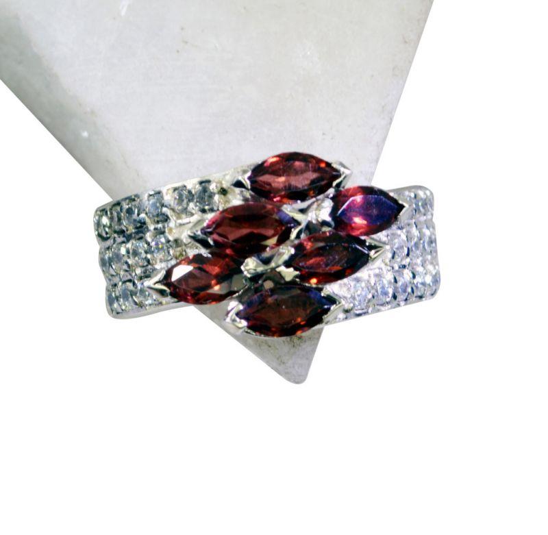 Buy Riyo Garnet Discount Silver Jewellery Chunky Silver Ring Sz 7 Srgar7-26166 online