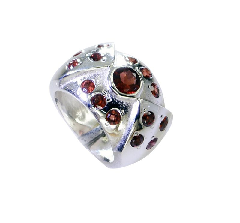 Buy Riyo Garnet Indian Silver Jewelry Silver Wave Ring Sz 7 Srgar7-26225 online