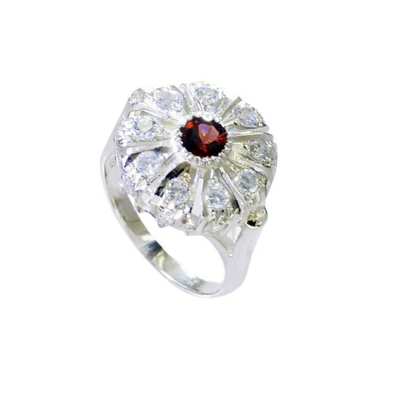 Buy Riyo Garnet Just Silver Jewellery Wide Silver Ring Sz 7.5 Srgar7.5-26237 online