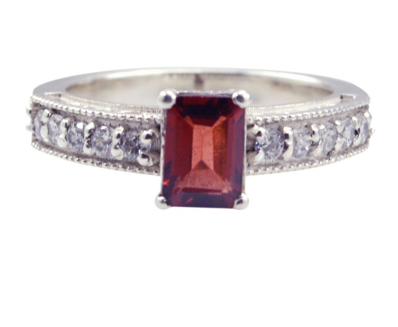 Buy Riyo Red Garnet 925 Solid Sterling Silver Small Ring Srgar75-26256 online