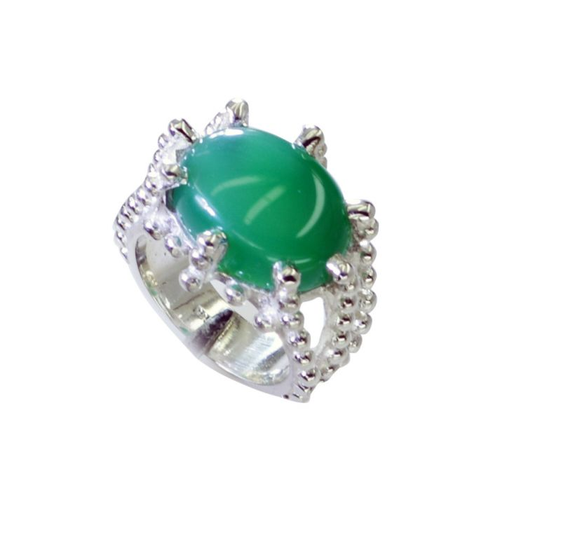 Buy Riyo Green Onyx Old Silver Jewellery Aqiq Ring Sz 6 Srgon6-30002 online