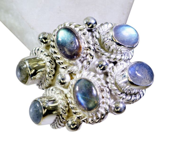 Buy Riyo Labradorite Silver Art Jewelry Finger Armor Ring Sz 7 Srlab7-42002 online