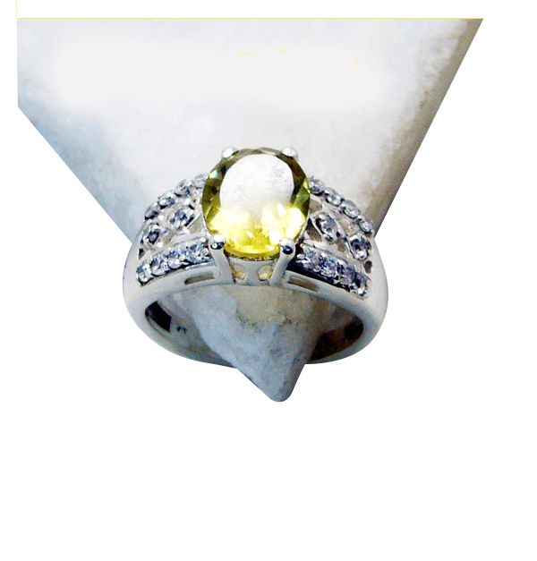 Buy Riyo Lemon Quartz Silver Chunky Jewellery Thumb Ring Sz 5.5 Srlqu5.5-46001 online
