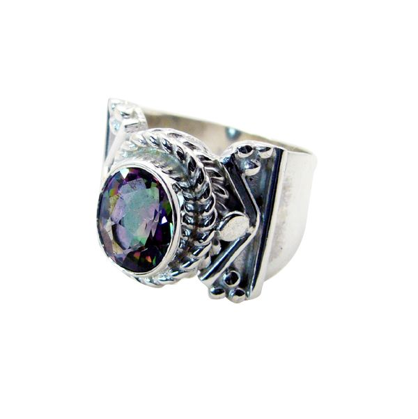 Buy Riyo Mystic Quartz Silver Gemstone Jewellery Design Your Own Silver Ring Sz 6 Srmqu6-54011 online