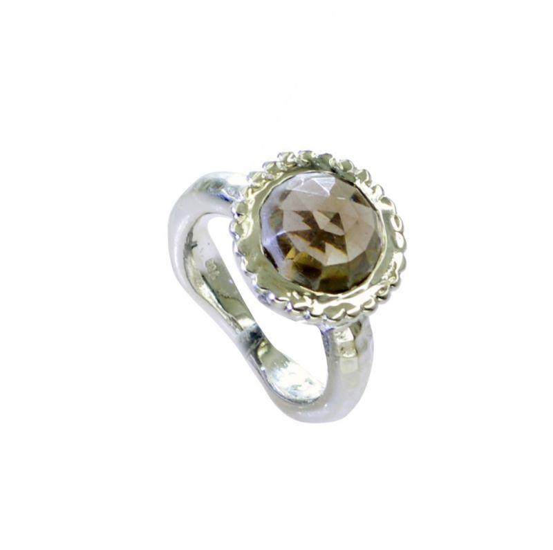 Buy Riyo Smoky Quartz Solid Silver Jewellery Engagement Ring Silver Sz 6 Srsqu6-76033 online
