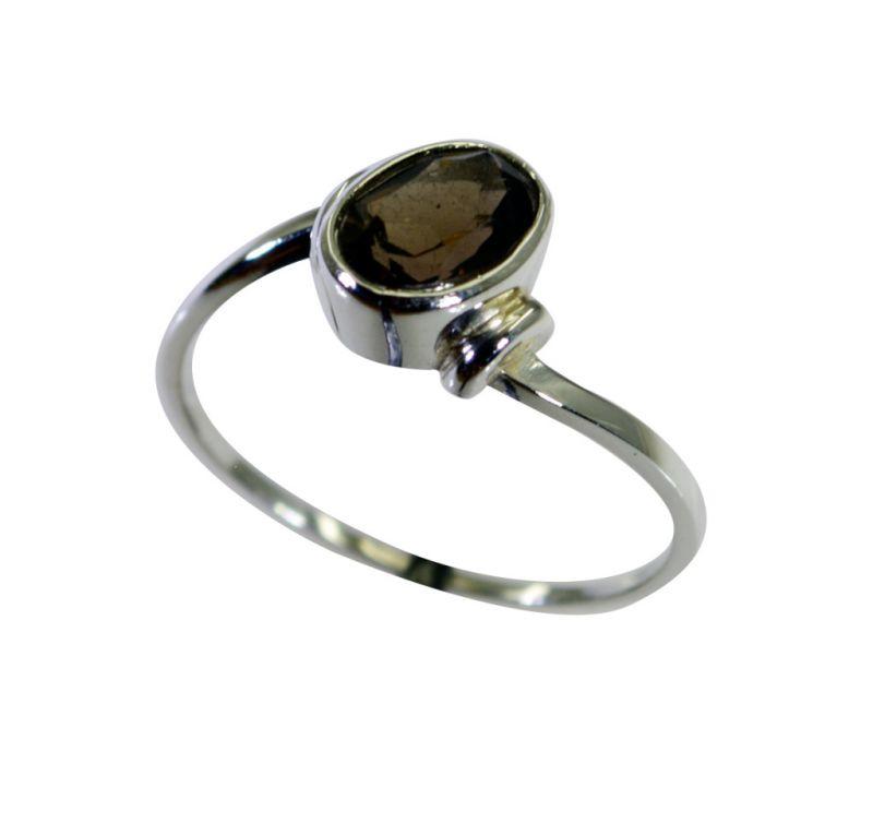 Buy Riyo Smoky Quartz Stylish Silver Jewellery Oxidized Silver Ring Sz 7 Srsqu7-76041 online