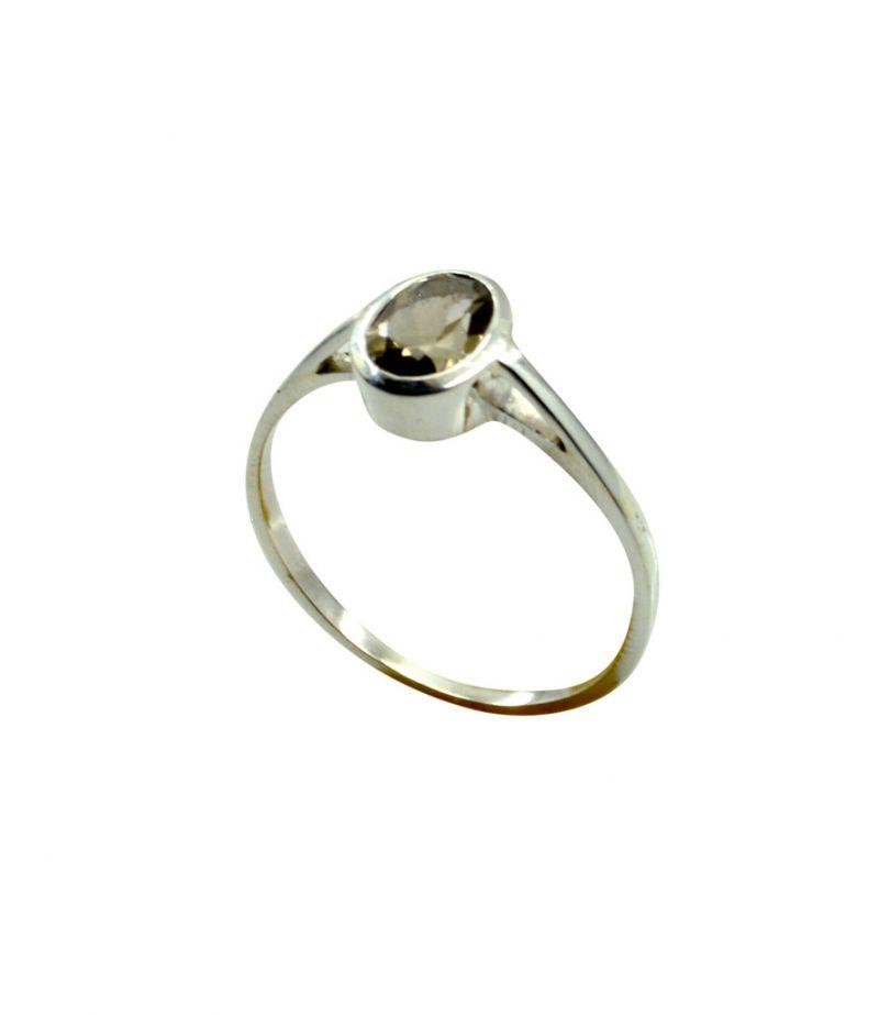 Buy Riyo Brown Smoky Quartz 925 Solid Sterling Silver Beaded Ring Srsqu85-76043 online