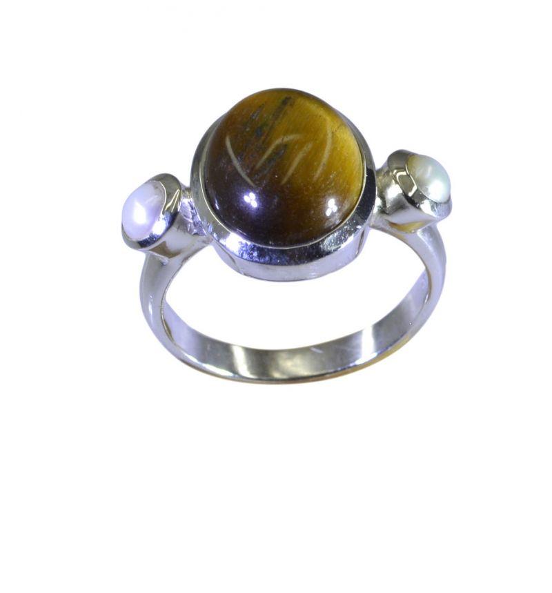 Buy Riyo Brown Tiger Eye 925 Solid Sterling Silver Charming Ring Srtey70-80011 online