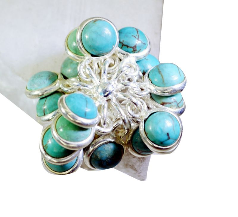 Buy Riyo Turquoise Fine Silver Jewelry Design Your Own Silver Ring Sz 6.5 Srtur6.5-82010 online