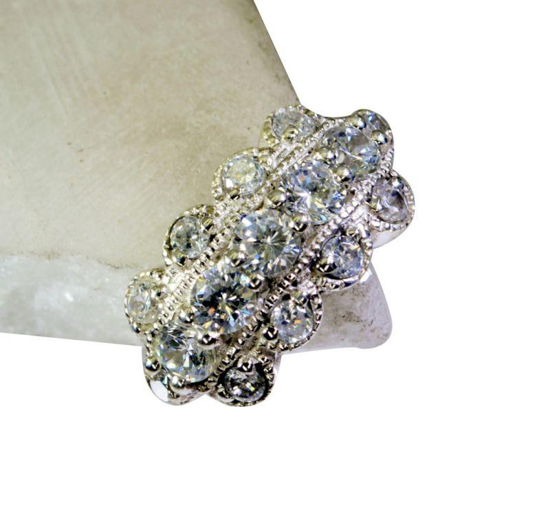 Buy Riyo White Cz Hill Tribe Silver Jewelry Silver Ring 925 Sz 6 Srwhcz6-110002 online