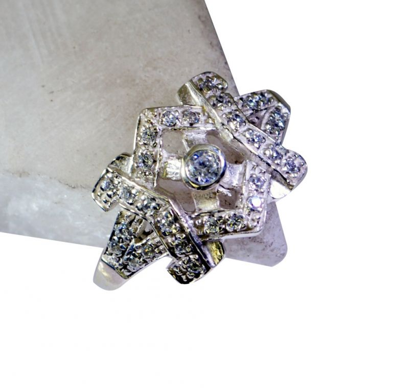 Buy Riyo White Cz How To Make Silver Jewellery Silver Ring Bands Sz 7 Srwhcz7-110006 online