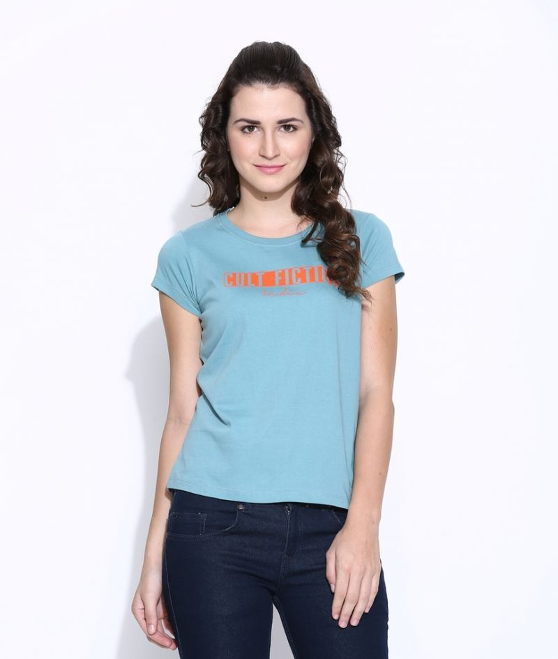 Buy Cult Fiction Lite Blue Cotton Printed Cap Sleeve Tee For Women online