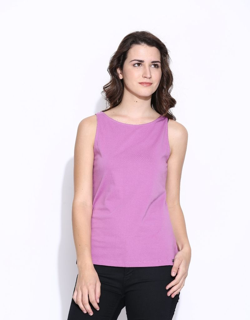 Buy Cult Fiction Pink Cotton Sleeveless Tee For Women online