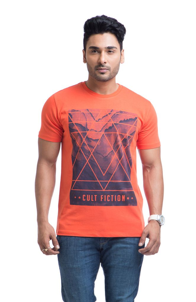Buy Cult Fiction Cotton Orange Printed Men