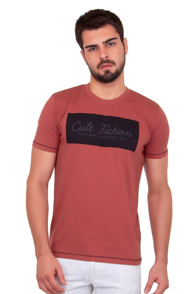 Buy Cult Fiction Self Design Pink Color Cotton Tshirt online