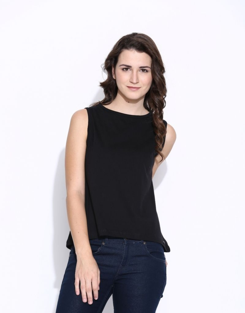 Buy Cult Fiction Black Color Cotton Sleeveless Tee For Women online