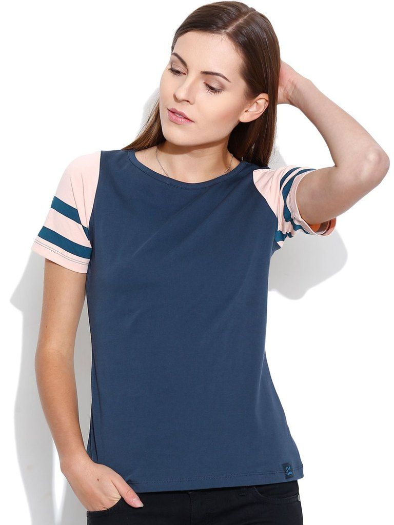 Buy Cult Fiction Round Neck With Contrast Sleeve Dark Blue T- Shirts For Womens online