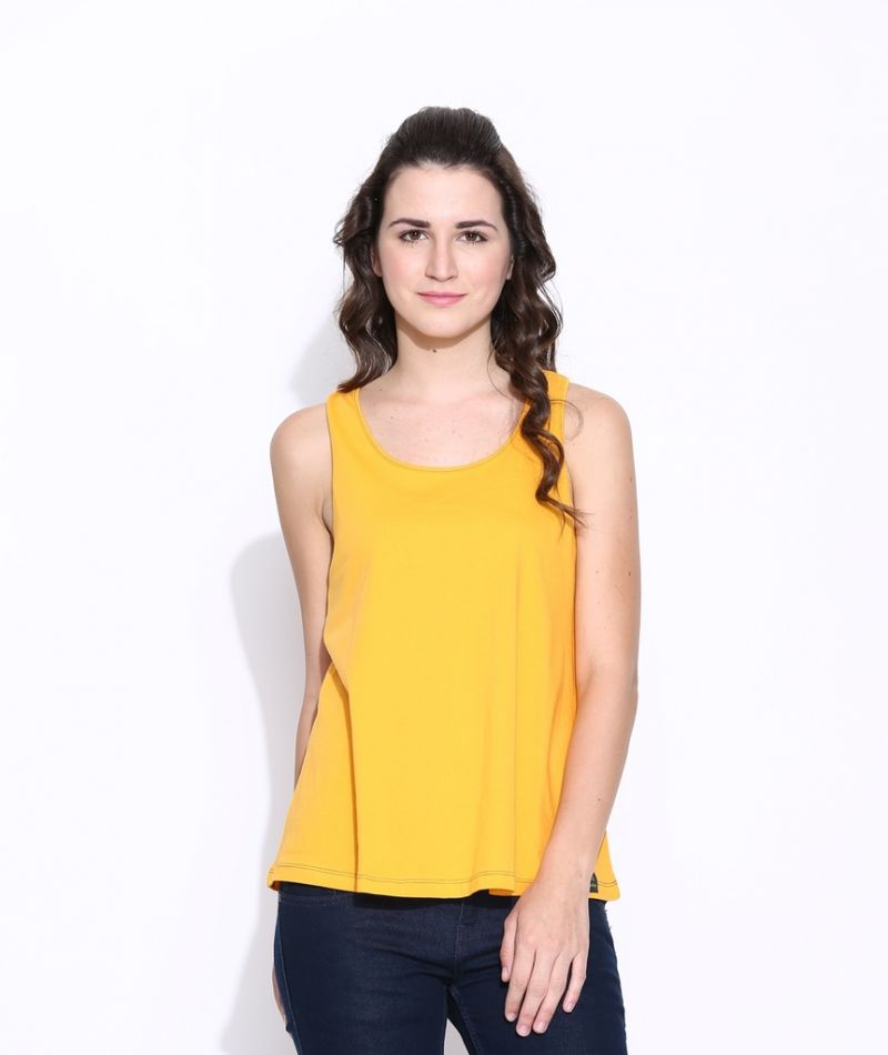 Buy Cult Fiction Yellow Cotton Solid Sleeveless Tee For Women online