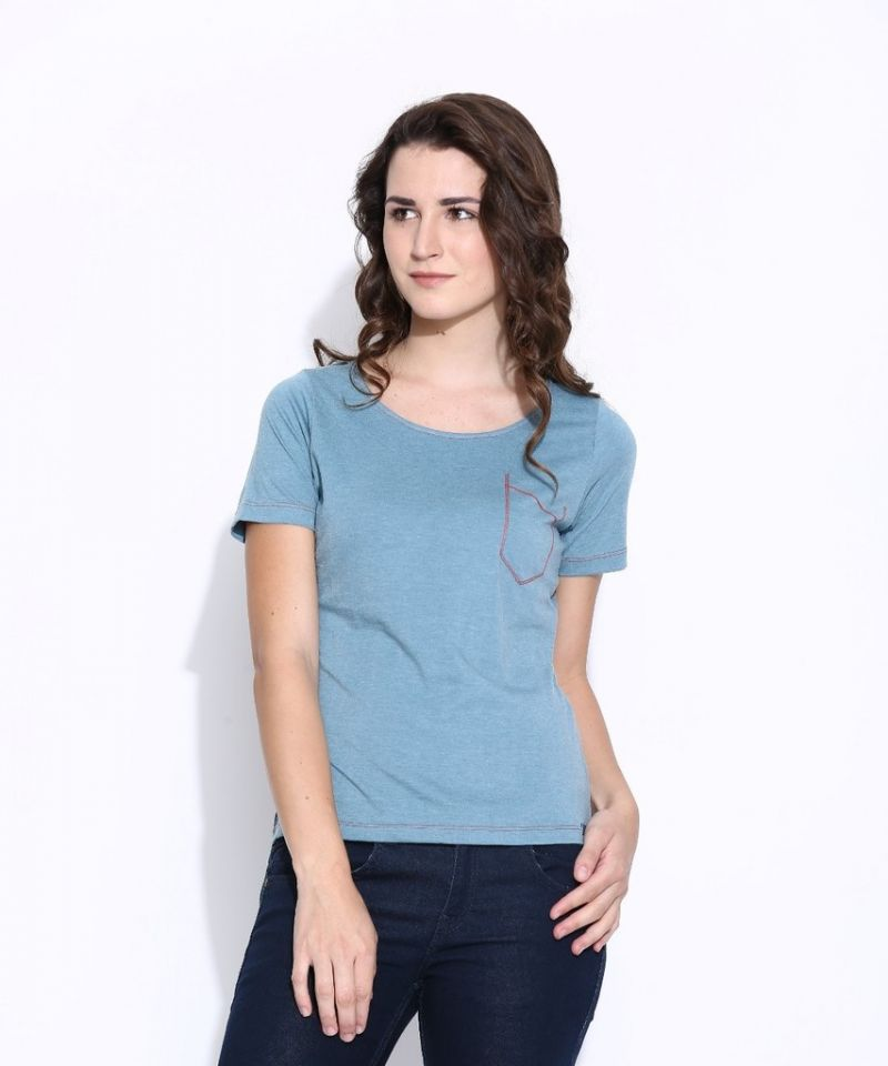 Buy Cult Fiction Light Blue Cotton Three Quarter Length Tee For Women online