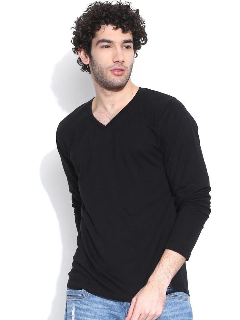 Black t shirt for mens - Buy Cult Fiction V Neck Full Sleeves Black T Shirt For Mens Online